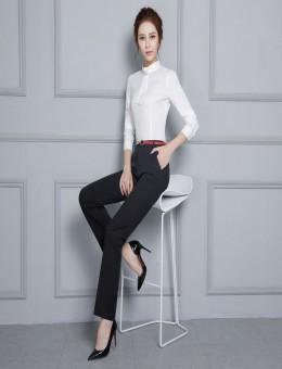 紫羲春季女装领结装饰纯色衬衫美容会套装职业装速