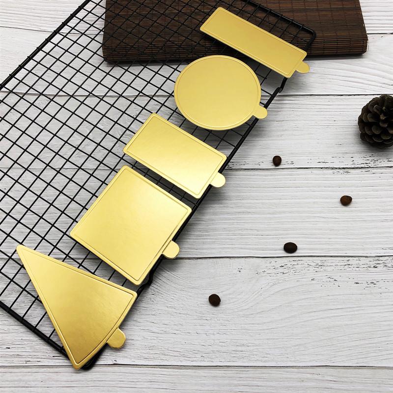 厂家直销圆形三角形长方形金色慕斯蛋糕垫 金卡垫烘焙包装