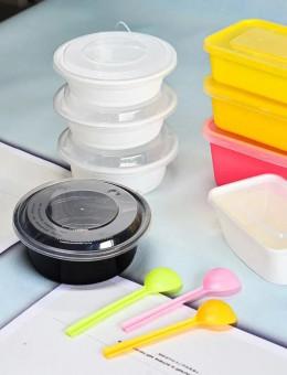 带盖打包盒350ml外卖一次性加厚小碗菜打包餐盒圆形塑料饭盒