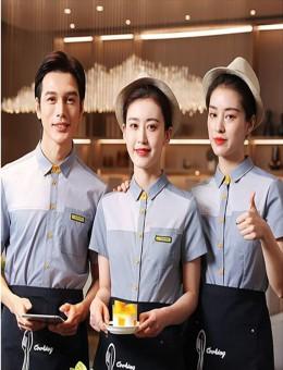 咖啡厅奶茶店工作服短袖烘焙师蛋糕店服装餐饮服务员夏装女